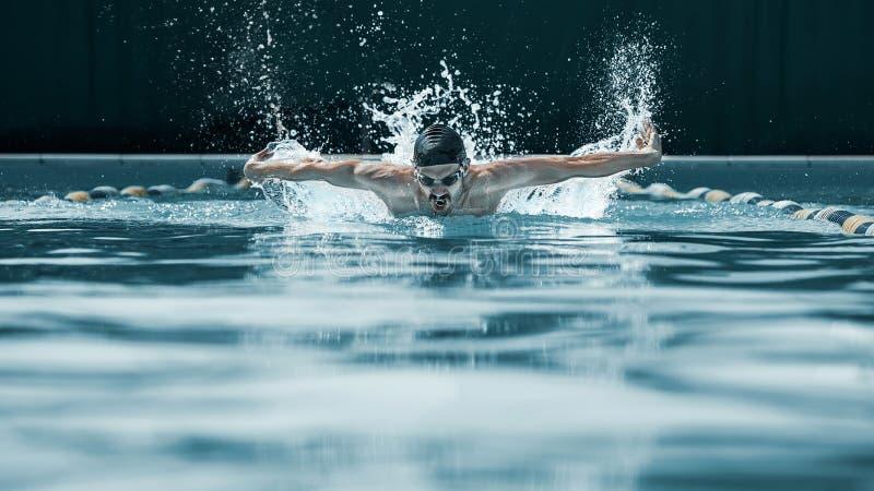 Dynamisk och färdig simmare i lockandning som utför fjärilsslaglängden arkivfoto