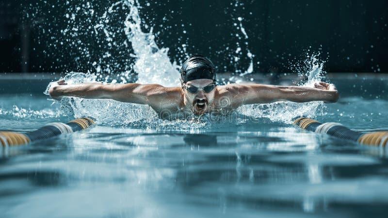 Dynamisk och färdig simmare i lockandning som utför fjärilsslaglängden royaltyfri foto