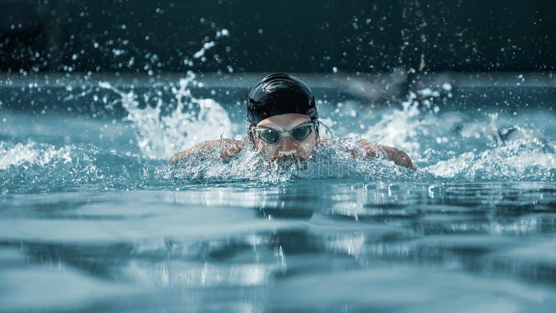 Dynamisk och färdig simmare i lockandning som utför fjärilsslaglängden royaltyfria foton