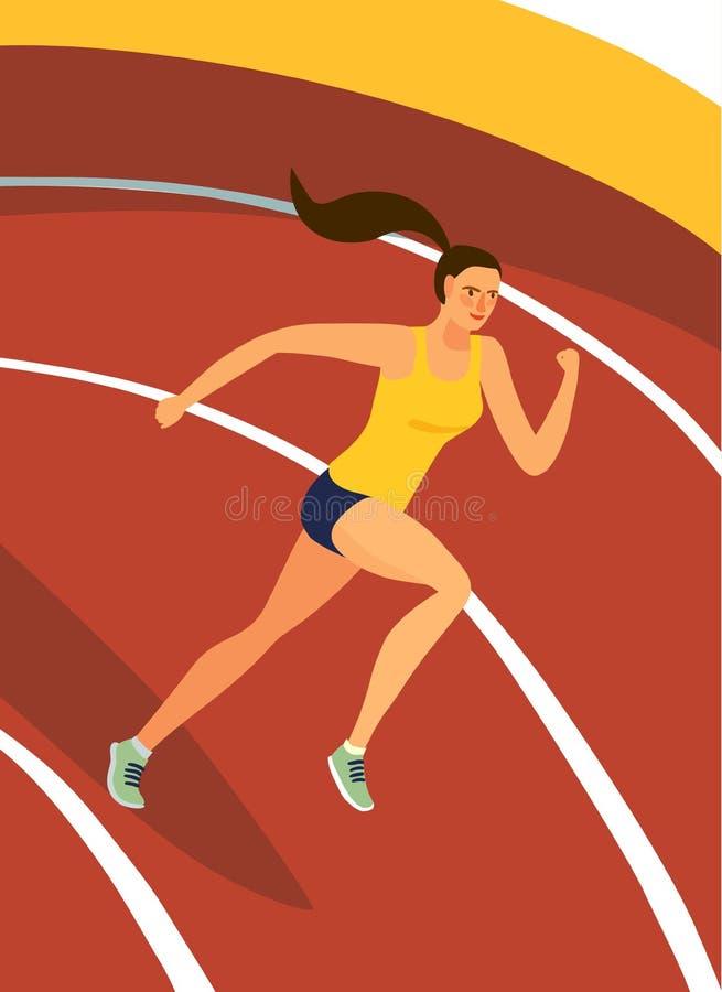 Dynamisk rinnande flicka på stadion royaltyfri illustrationer