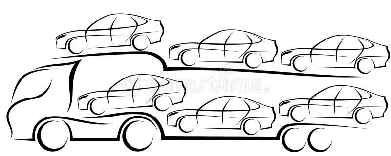 Dynamisk vektorillustration av en europeisk lastbilbiltransport stock illustrationer