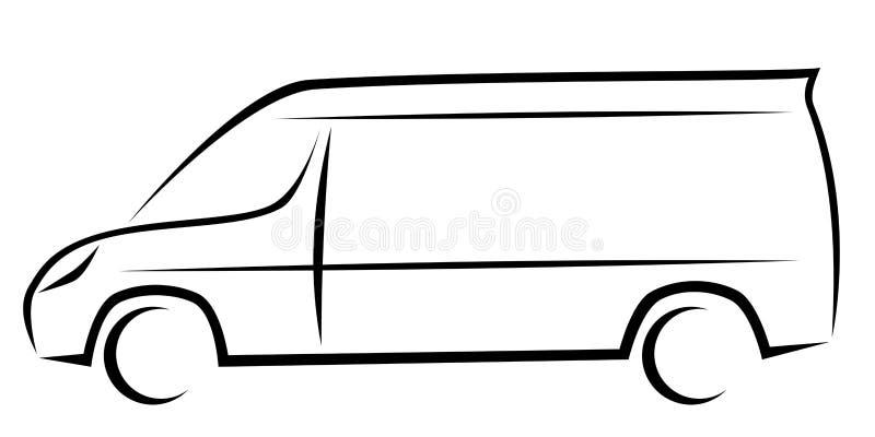 Dynamisk vektorillustration av en skåpbil som en logo för leverans eller kurirföretag stock illustrationer