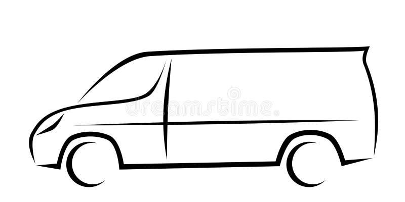 Dynamisk vektorillustration av en skåpbil som en logo för leverans eller kurirföretag vektor illustrationer