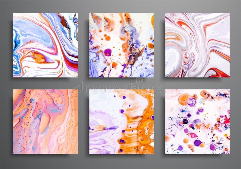 dynamiska bakgrunder moderiktiga plakat, reklamfilmräkningsuppsättning Färgrik effekt för marmor Abstrakt sidaaffischmall för royaltyfri illustrationer