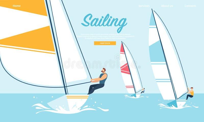 Dynamiska Team Struggle Regatta Sailing Ship, sommar vektor illustrationer