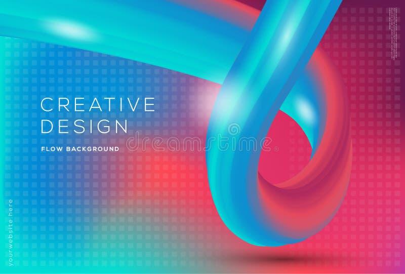 dynamiskt flöde 3d formar sammansättning med lutningfärgbakgrund royaltyfri illustrationer