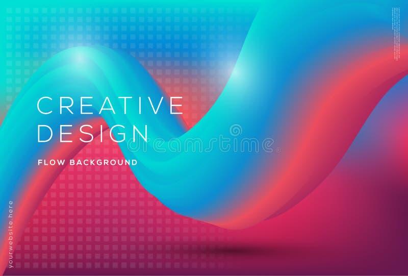 dynamiskt flöde 3d formar sammansättning med lutningfärgbakgrund vektor illustrationer