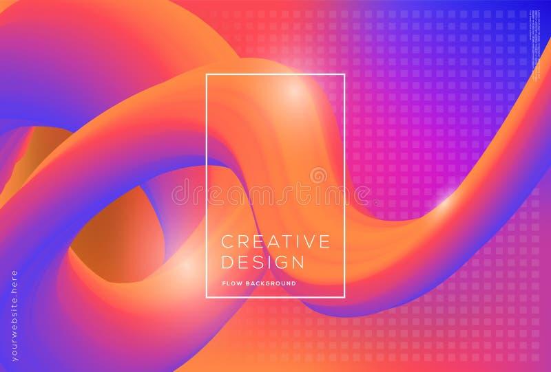 dynamiskt flöde 3d formar sammansättning med lutningfärgbakgrund stock illustrationer