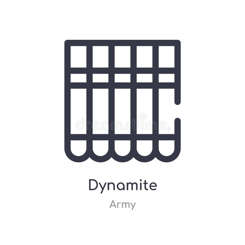 dynamitöversiktssymbol isolerad linje vektorillustration fr?n arm?samling redigerbar tunn slaglängddynamitsymbol på vit stock illustrationer
