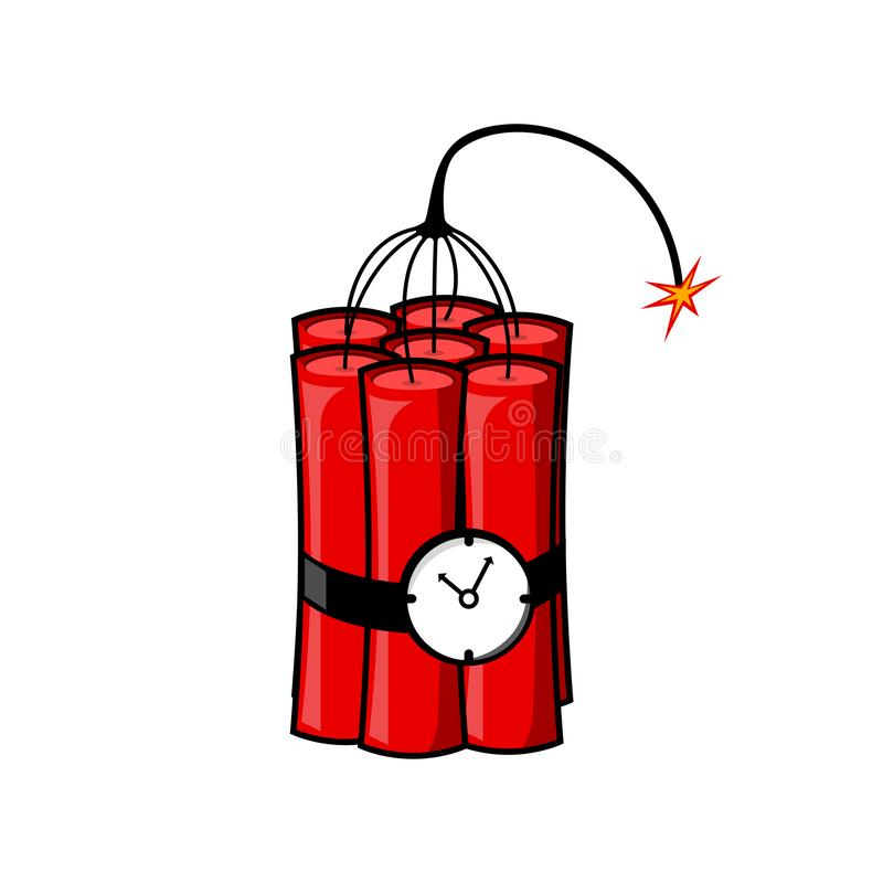 Dynamit bombarderar med brand som isoleras på vit bakgrund Explosion Faravapen med klockan Vektortecknad filmdesign stock illustrationer