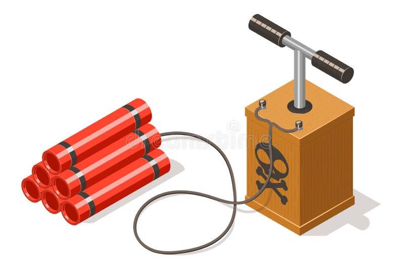Dynamit bombarderar och detonatorn som isoleras på vit vektor illustrationer