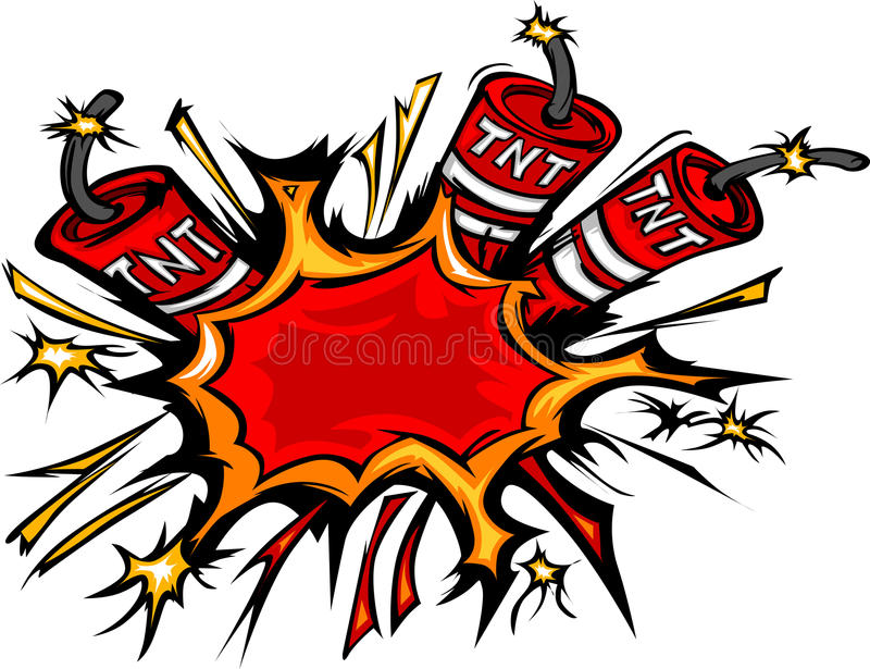 Dynamit-Explosion-Karikatur-Abbildung lizenzfreie abbildung