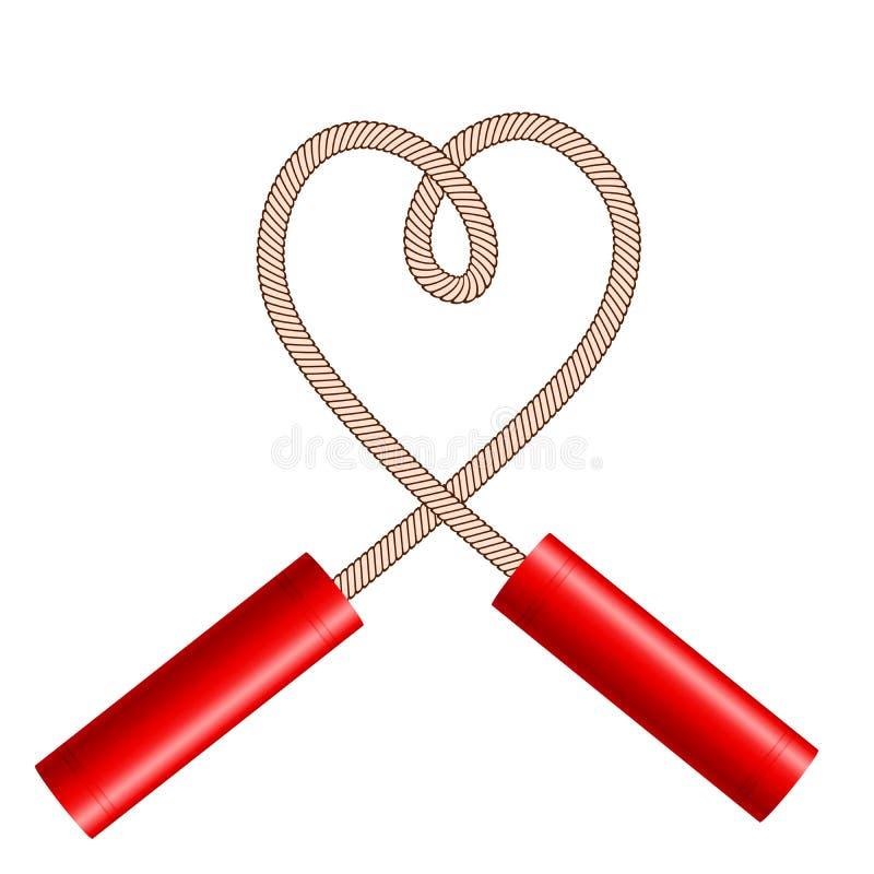 Dynamit klibbar med repet som hjärtasymbolet på vitt, materielvektorillustration royaltyfri illustrationer
