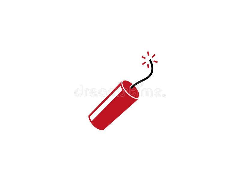 Dynamit lub granat mały bombowy palenie dla logo i rewolucjonistka ilustracja wektor