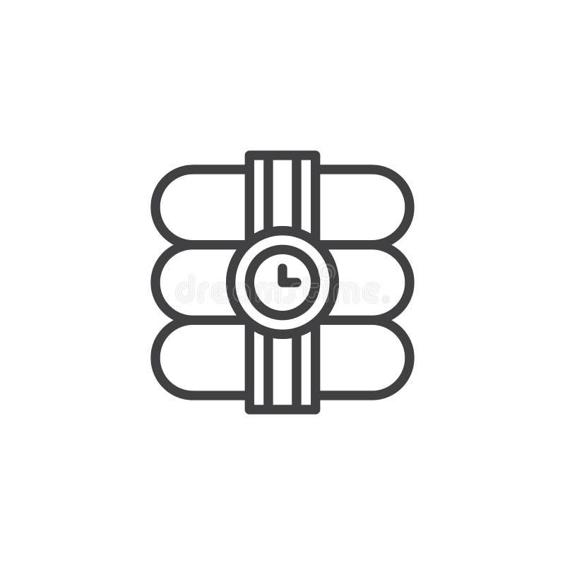 Dynamit med stoppurlinjen symbol vektor illustrationer