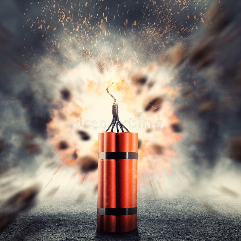 Dynamit som exploderar royaltyfria bilder