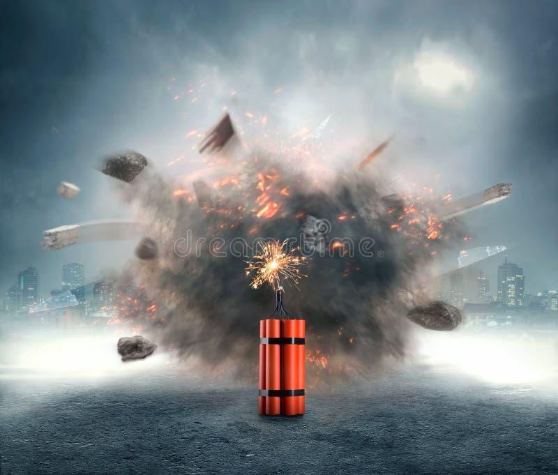 Dynamit som exploderar royaltyfri fotografi