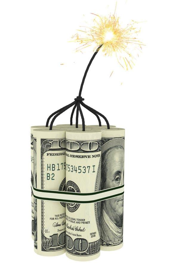Dynamit som sätts ihop av dollarbills royaltyfri fotografi