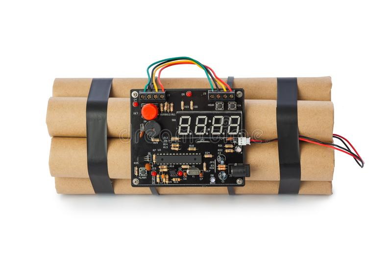 Dynamitbombe mit Timer lizenzfreies stockbild