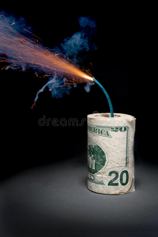 Download Dynamite Cash With Lit Fuse Stock Photo - Image of burn, paper: 13166068