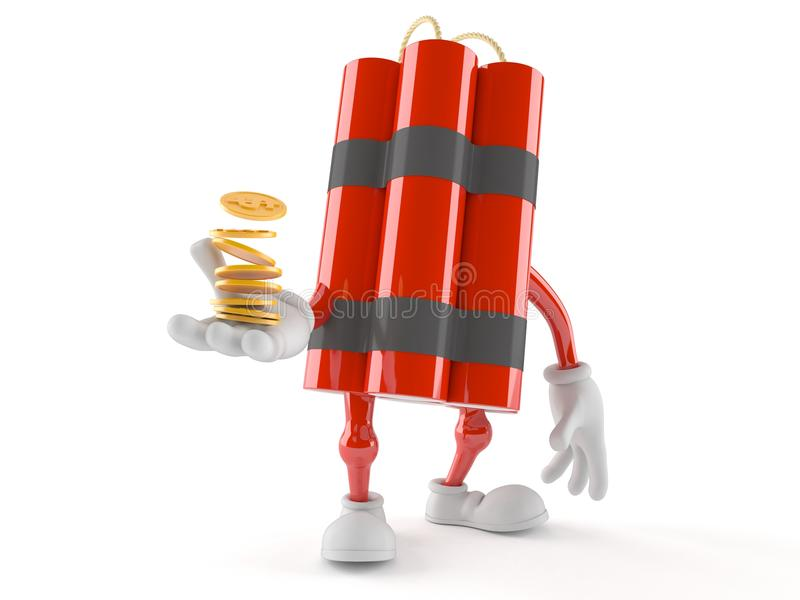 Dynamite character with coins stock illustration