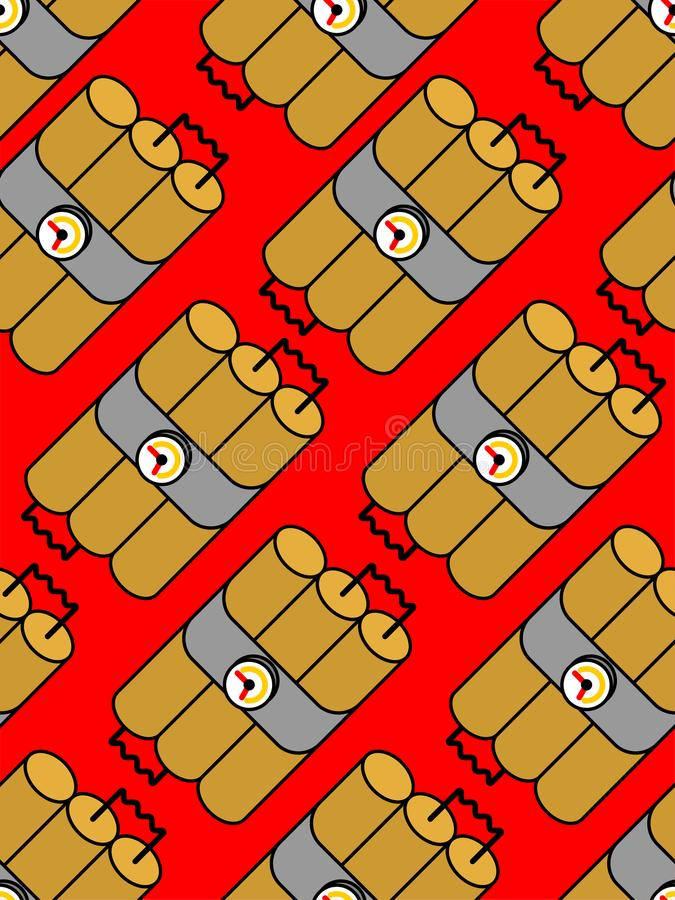Dynamite sticks pattern seamless. TNT explosives background. Bomb texture vector illustration stock illustration