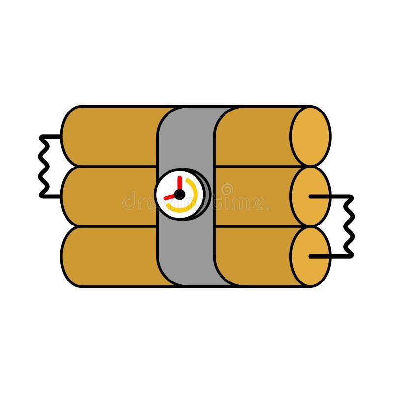 Dynamitpinnar och klocka TNT-sprängmedel Bombardera vektorillustrat stock illustrationer