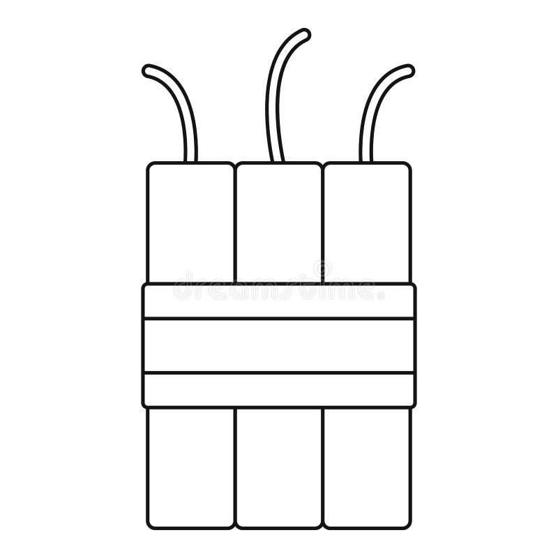 Dynamitsprängmedelsymbol, översiktsstil vektor illustrationer