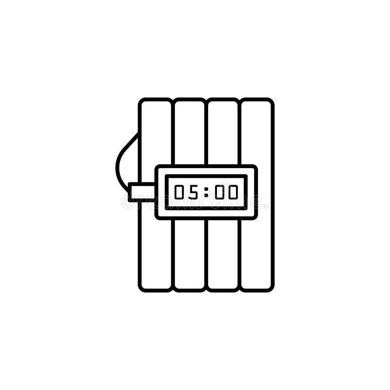 Dynamitsymbol Beståndsdel av brott- och bestraffningsymbolen för mobila begrepps- och rengöringsdukapps Den tunna linjen dynamits vektor illustrationer
