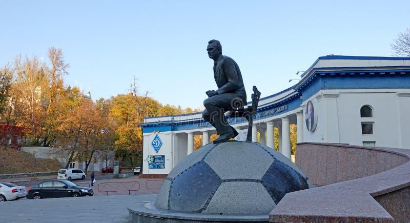 Dynamo Football Stadium in Kiev. Monument to Valery Lobanovsky. Autumn day stock photos