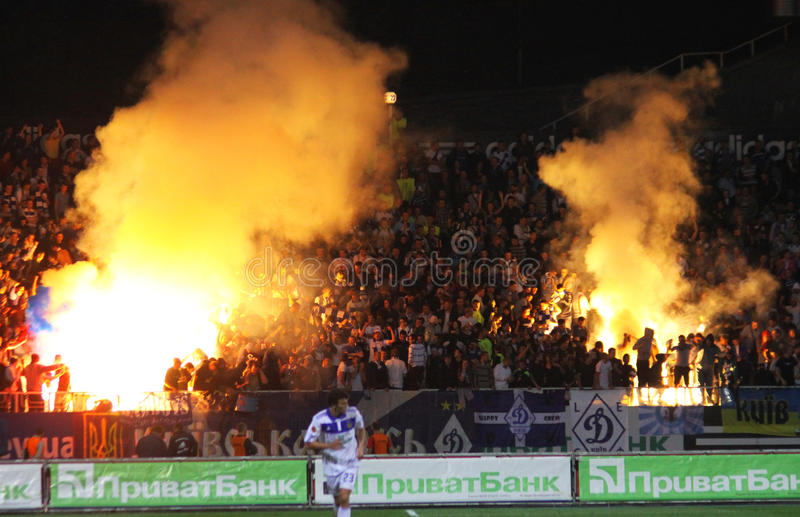 Dynamo Kyiv Ultra Supporters Burn A Flares Editorial Photography