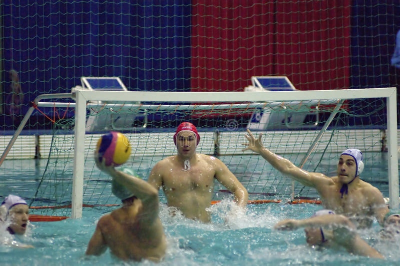 Dynamo(Moscow) vs Sintez (Kazan) of waterpolo stock image