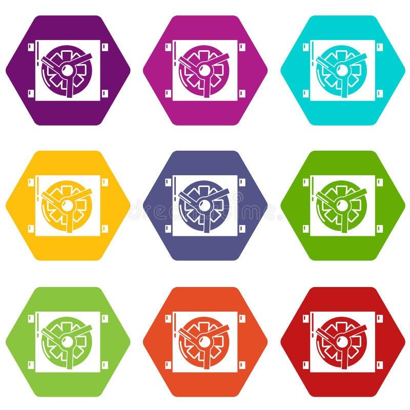 Dynamo szczegółu samochodowe ikony ustawiają 9 wektor ilustracji