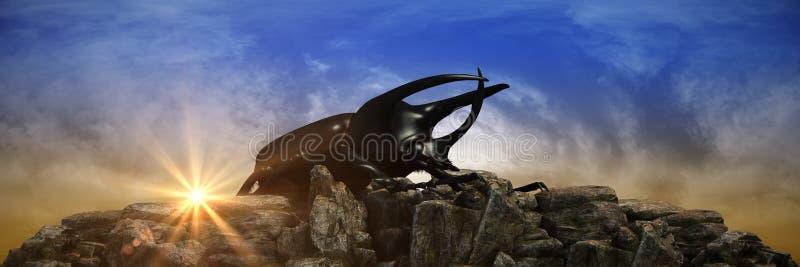 Dynastes hercules no por do sol 3d ilustração royalty free