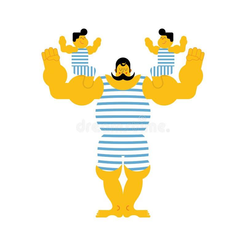 Dynastie van de sporten de sterke familie Retro strongman en kinderen Vint stock illustratie