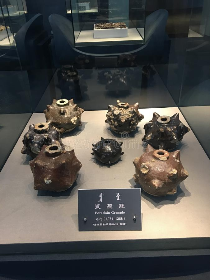 Dynasty& x27 di yuan; pallottola della porcellana di s in porcellana fotografie stock