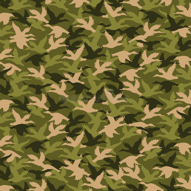 Dynasty of Duck, Hunting Pattern. Fabric pattern of military colors, defending motif with bird design, hunting, autumn and army theme vector illustration