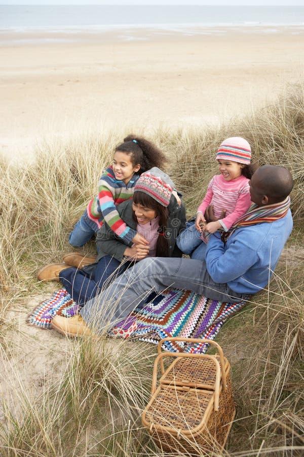 dyner som tycker om familjen, har picknick att sitta royaltyfri foto