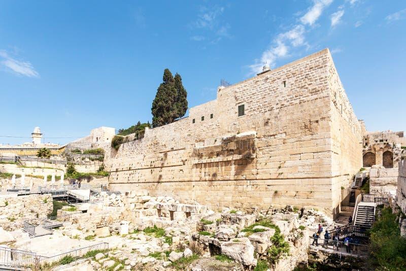 Dyngaport av den gamla staden och al-Aqsamoskén Lopp till Jerusalem israel arkivbilder