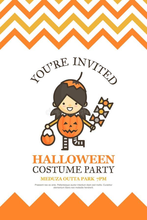Dyniowa dziewczyny Halloween zaproszenia karta dla kostiumowego nocy przyjęcia c royalty ilustracja