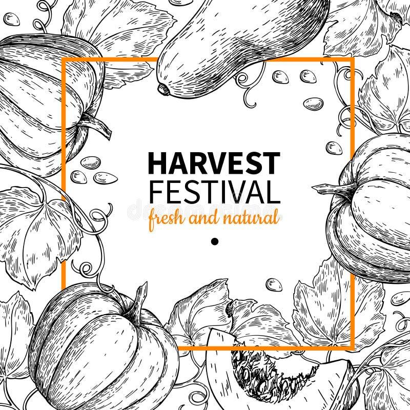 Dyniowa wektor rama Ręka rysująca rocznika żniwa festiwalu ilustracja Rolny Targowy nakreślenie ilustracja wektor