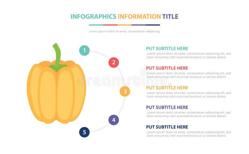 Dyniowy infographic szablonu pojęcie z pięć punktami spisuje i różnorodny kolor z czystym nowożytnym białym tłem - wektor ilustracji