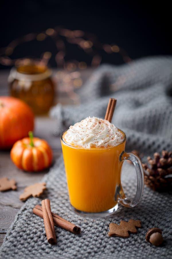 Dyniowy latte z pikantność Pijacki koktajl z batożącą śmietanką Popielaty tło kosmos kopii obrazy royalty free