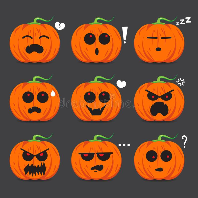 Dyniowy twarzy emoci projekt dla Halloweenowego dnia ilustracja wektor
