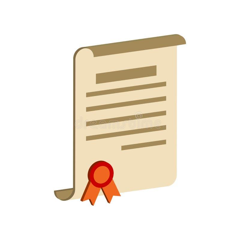Dyplom ślimacznica, świadectwo symbol Płaska Isometric ikona lub logo ilustracji
