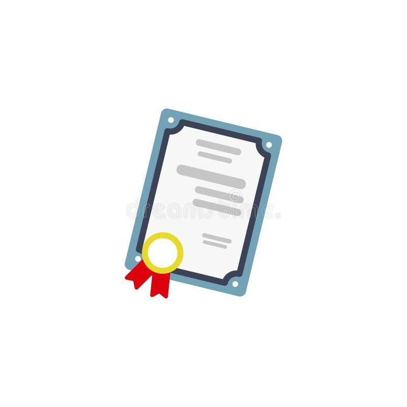 Dyplom, Fachowy certyfikat, edukacji pojęcia Płaska projekta wektoru ilustracja 10 eps royalty ilustracja