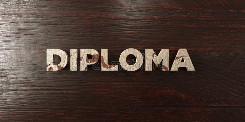Dyplom - grungy drewniany nagłówek na klonie - 3D odpłacający się królewskość bezpłatny akcyjny wizerunek ilustracja wektor