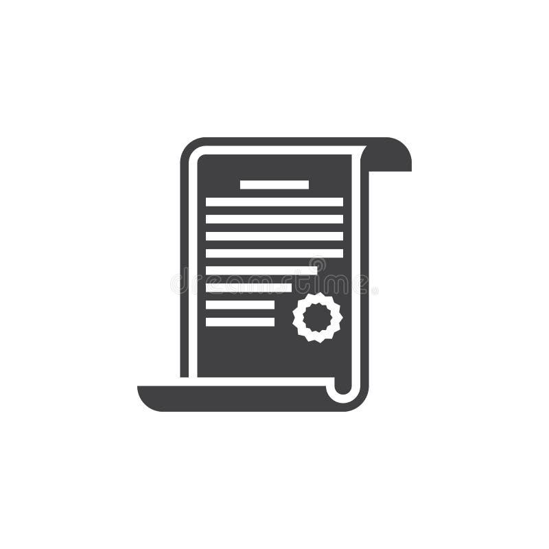 Dyplom ikony wektor, świadectwo stały logo, piktogram odizolowywający ilustracja wektor