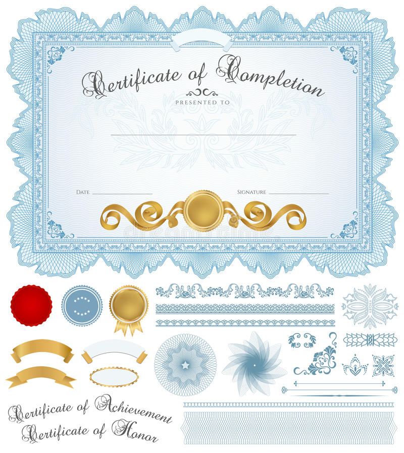 Dyplomu, świadectwa tło z błękit granicą/ ilustracji