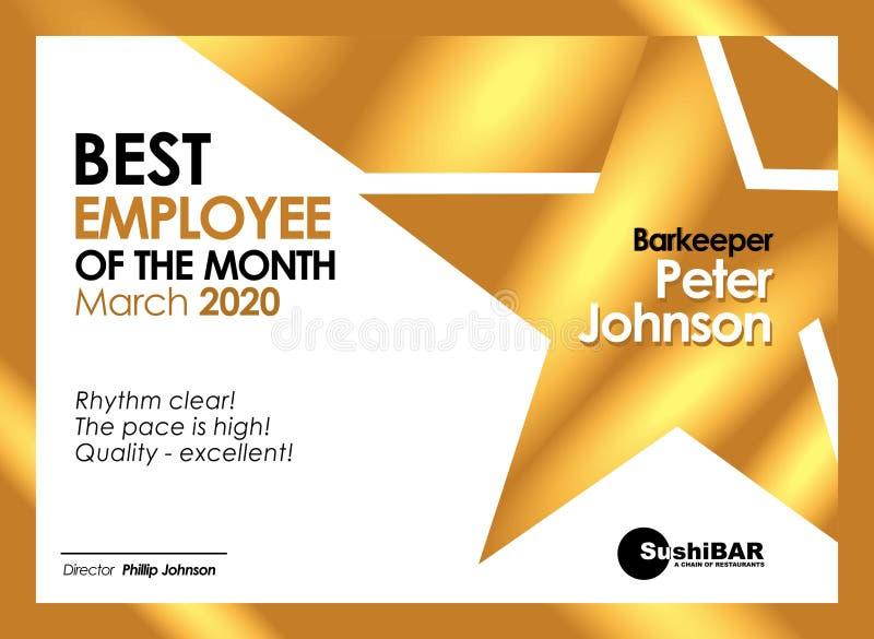 Dyplomu Najlepszy pracownik miesiąca Złoty szablon z złocistej metal tekstury projekta chłodno ramą ilustracji